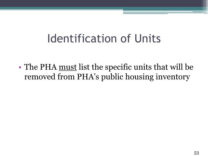Identification of Units