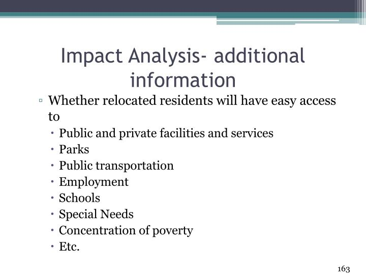Impact Analysis- additional information