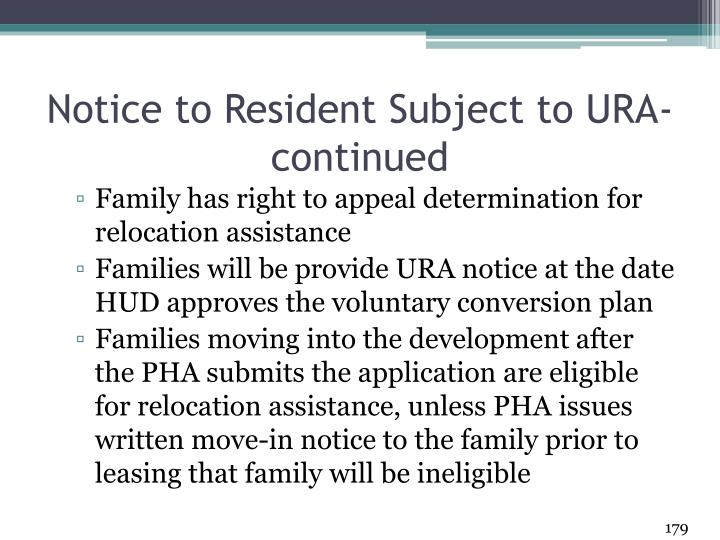 Notice to Resident Subject to URA- continued