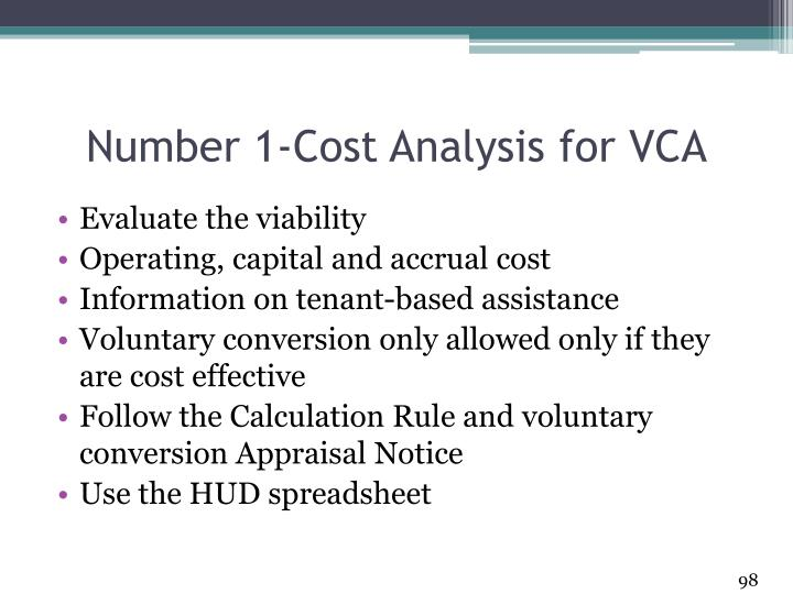 Number 1-Cost Analysis for VCA