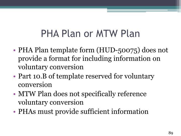 PHA Plan or MTW Plan