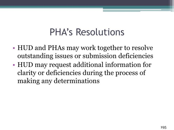 PHA's Resolutions