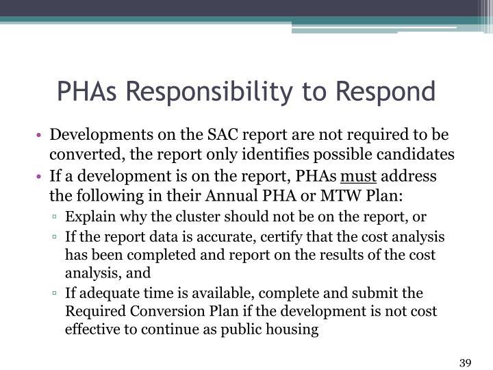 PHAs Responsibility to Respond