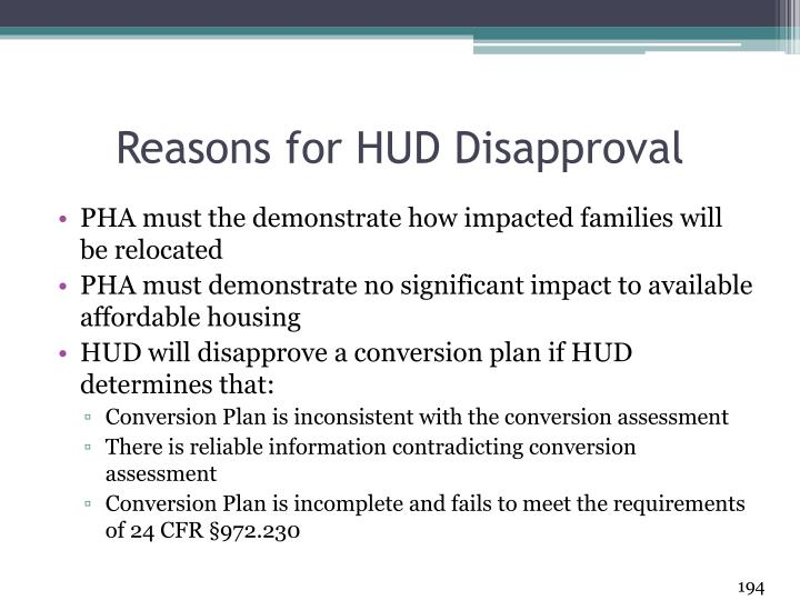 Reasons for HUD Disapproval