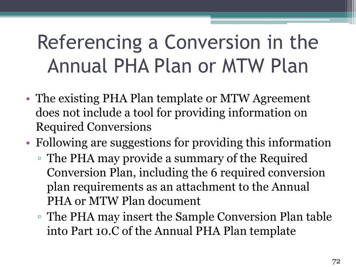 Referencing a Conversion in the Annual PHA Plan or MTW Plan