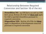 relationship between required conversion and section 18 of the act
