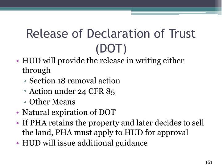 Release of Declaration of Trust (DOT)
