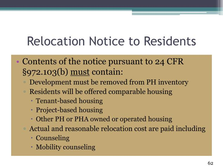 Relocation Notice to Residents