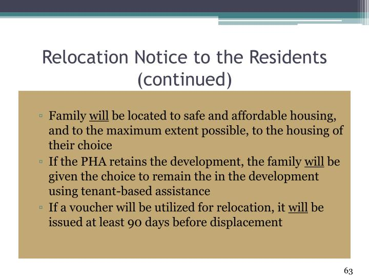 Relocation Notice to the Residents