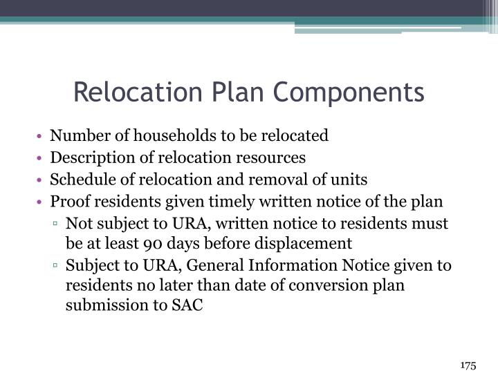 Relocation Plan Components