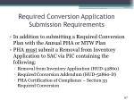 required conversion application submission requirements