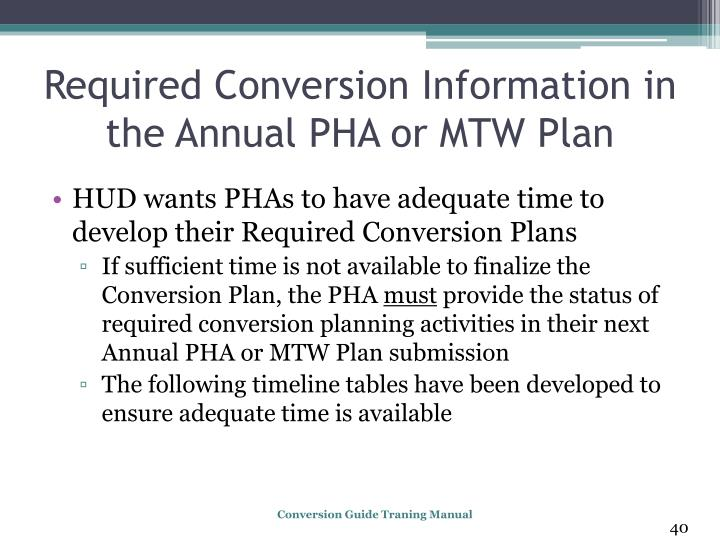 Required Conversion Information in the Annual PHA or MTW Plan
