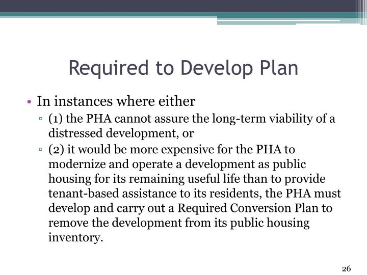 Required to Develop Plan