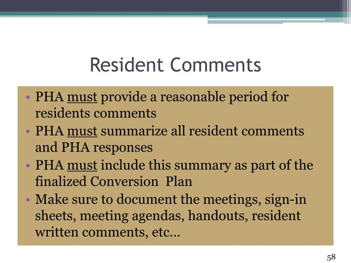 Resident Comments