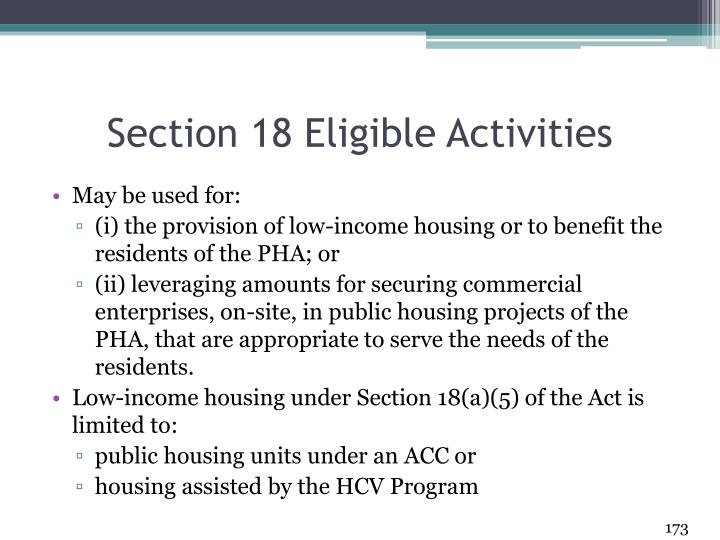 Section 18 Eligible Activities