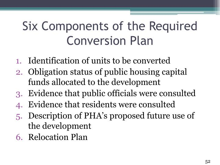 Six Components of the Required Conversion Plan
