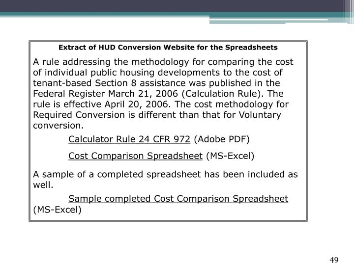 Extract of HUD Conversion Website for the Spreadsheets
