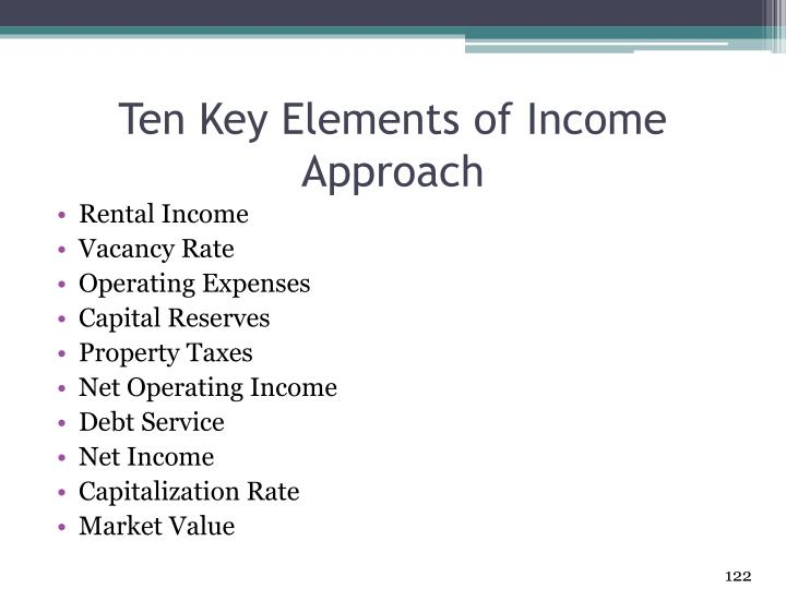 Ten Key Elements of Income Approach