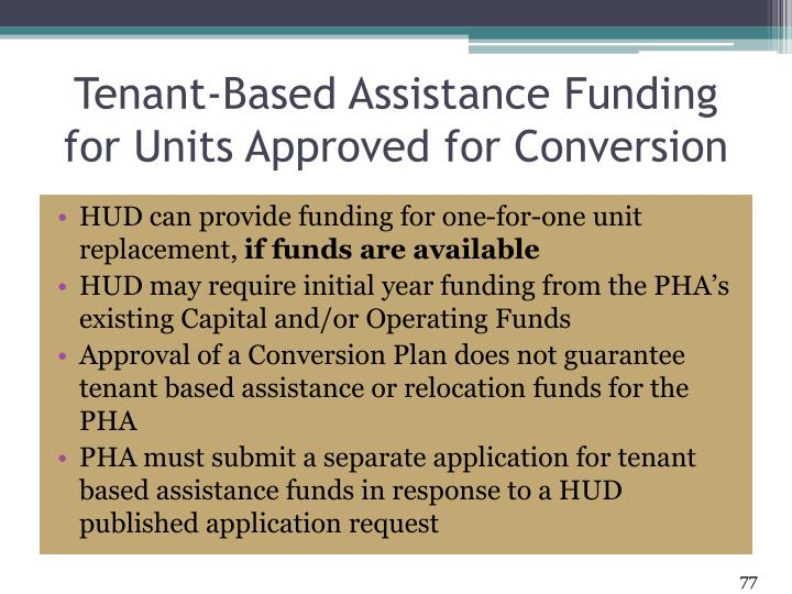 Tenant-Based Assistance Funding for Units Approved for Conversion