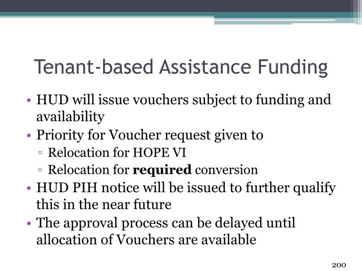 Tenant-based Assistance Funding