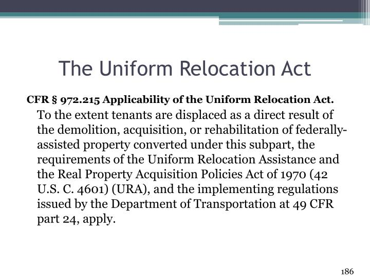 The Uniform Relocation Act