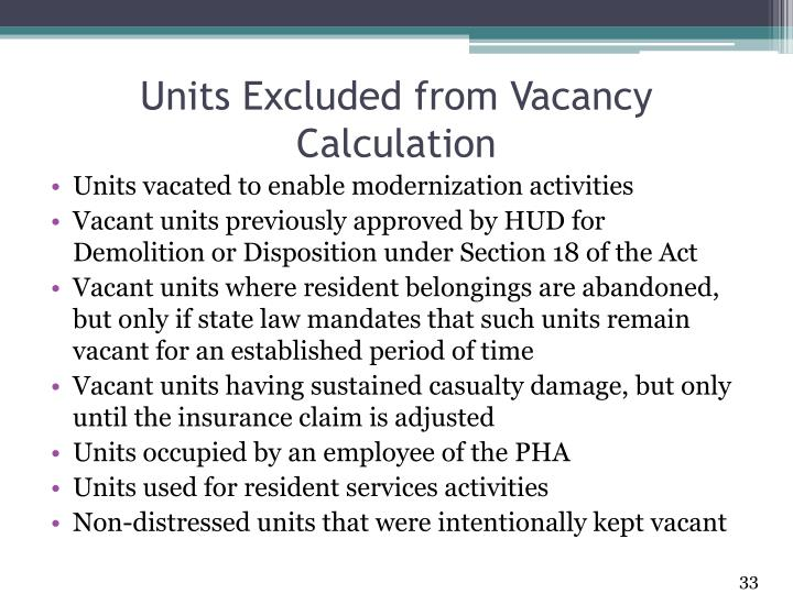 Units Excluded from Vacancy Calculation