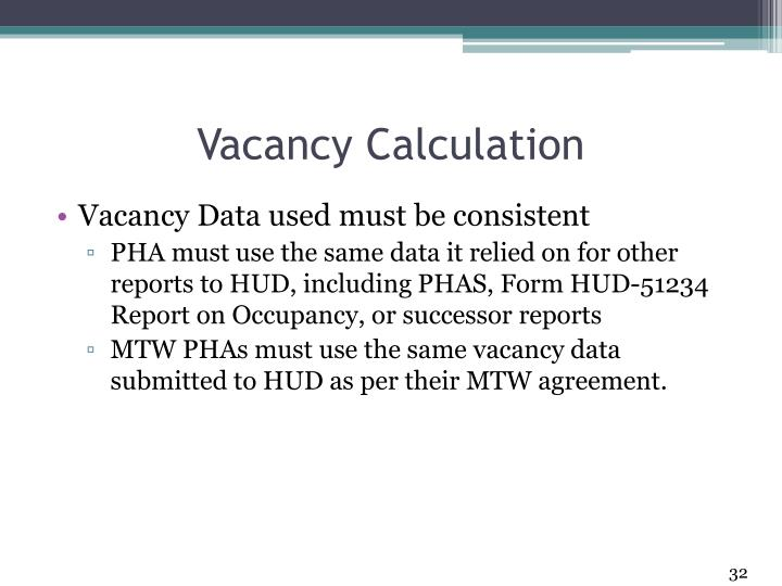 Vacancy Calculation