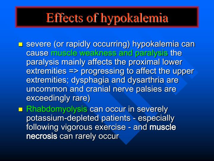 Effects of hypokalemia