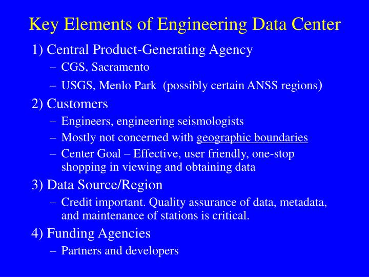 Key Elements of Engineering Data Center