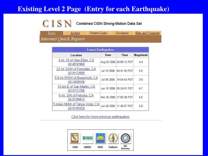 Existing Level 2 Page  (Entry for each Earthquake)