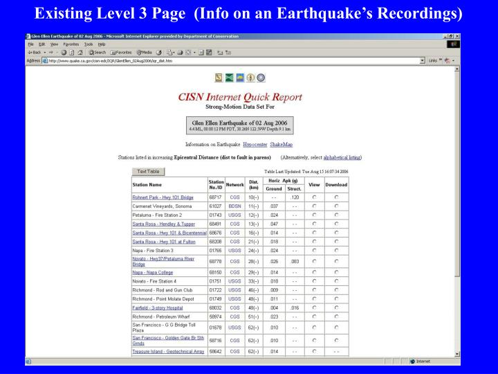 Existing Level 3 Page  (Info on an Earthquake's Recordings)