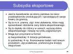 subsydia eksportowe