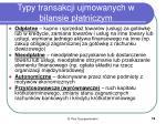 typy transakcji ujmowanych w bilansie p atniczym