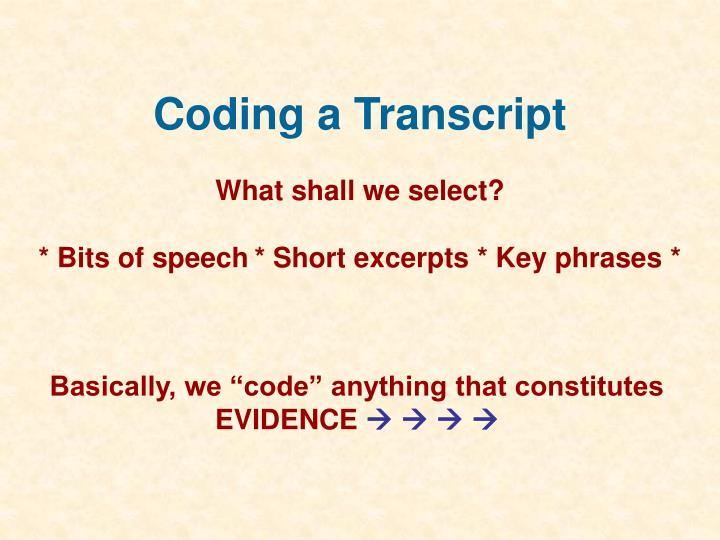 Coding a Transcript