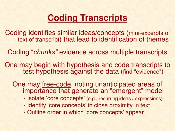 Coding Transcripts