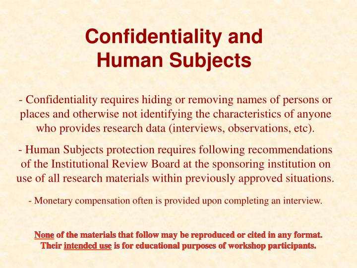 Confidentiality and
