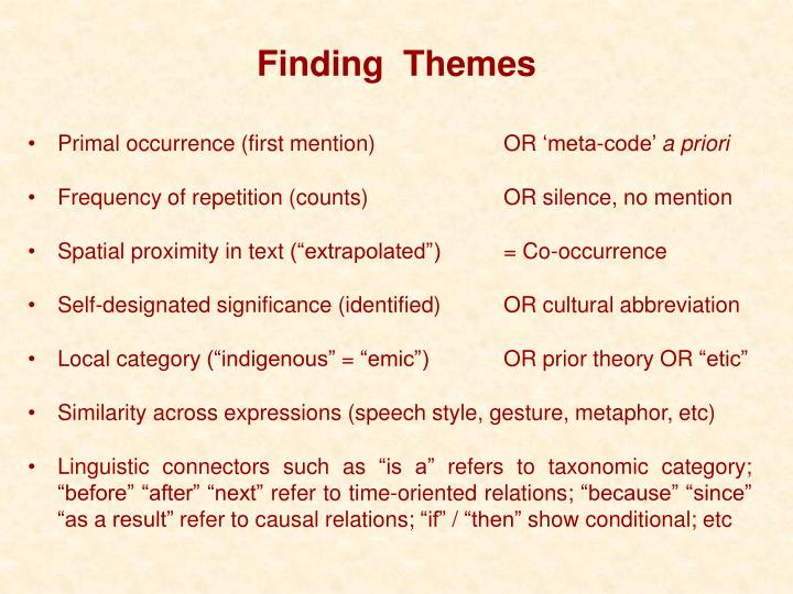 Finding  Themes