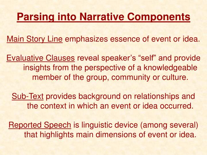 Parsing into Narrative Components