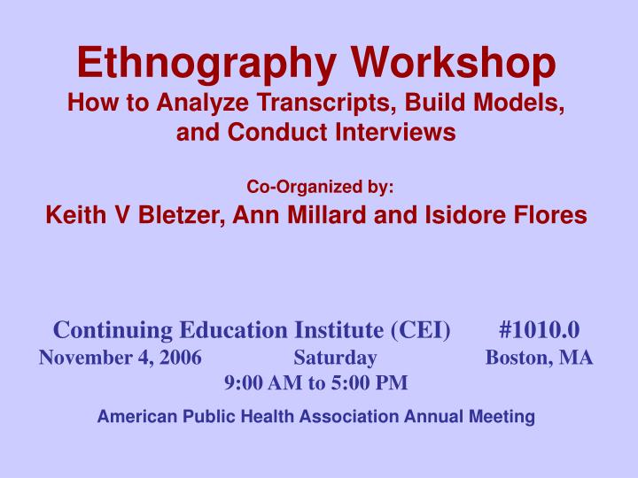 Ethnography Workshop