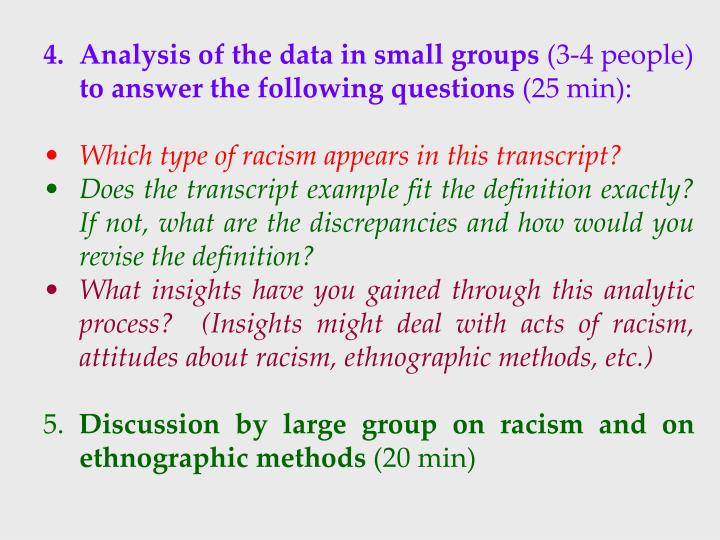 4. Analysis of the data in small groups