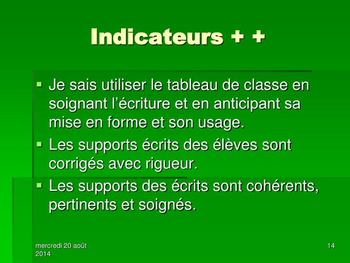 Indicateurs + +