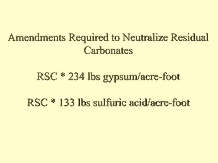 Amendments Required to Neutralize Residual Carbonates