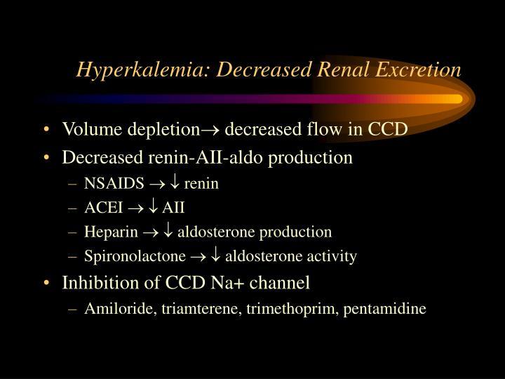 Hyperkalemia: Decreased Renal Excretion