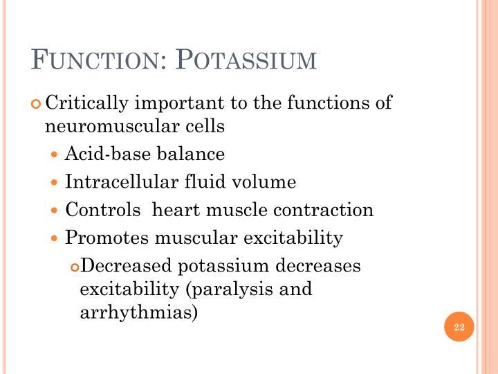 Function: Potassium