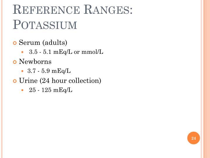 Reference Ranges: Potassium