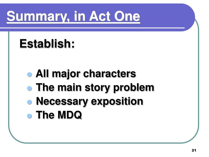 Summary, in Act One