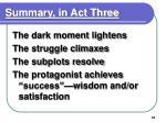 summary in act three