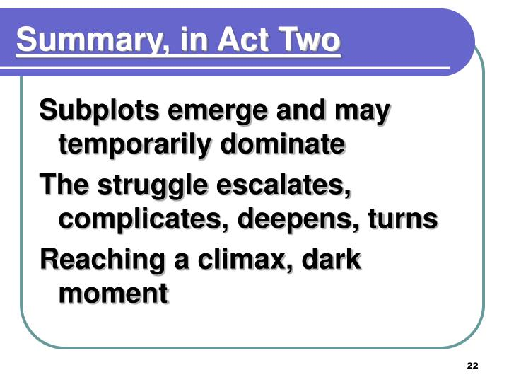 Summary, in Act Two