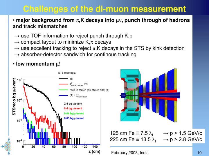 Challenges of the di-muon measurement