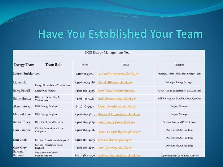 Have You Established Your Team